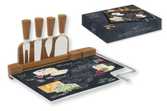 Набор для сыра: разделочная доска (стекло) + 4 ножа Мир сыров Easy Life AL-46542
