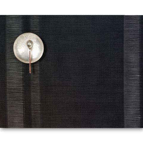 Салфетка подстановочная, жаккардовое плетение, винил, (36х48) Black (100137-001) CHILEWICH Tuxedo stripe арт. 0201-TXST-BLAC