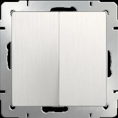 Выключатель  двухклавишный  (перламутровый рифленый) WL13-SW-2G Werkel