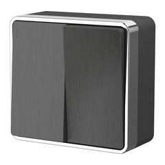 Выключатель двухклавишный Gallant (графит рифленый) WL15-03-01 Werkel