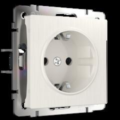 Розетка с заземлением и шторками (перламутровый рифленый) WL13-SKGS-01-IP44 Werkel