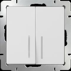 Выключатель двухклавишный с подсветкой (белый) WL01-SW-2G-LED Werkel