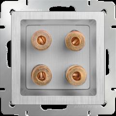 Акустическая розетка (cеребряный рифленый) WL09-AUDIOx4 Werkel