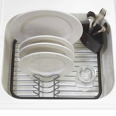 Сушилка для посуды Umbra sinkin dish серая/никель 330065-744