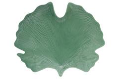 Блюдо-листок (гинкго) сервировочное (св.зелёный) Мадагаскар в подарочной упаковке