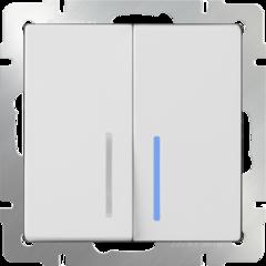 Выключатель  двухклавишный проходной с подсветкой (белый) WL01-SW-2G-2W-LED Werkel