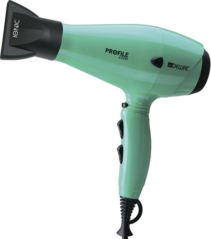 Фен Dewal Profile-2200, 2200 Вт, ионизация, 2 насадки, голубой* 03-120 Aqua фото