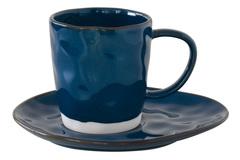 Чашка с блюдцем (синий) Interiors без инд.упаковки Easy Life AL-57422