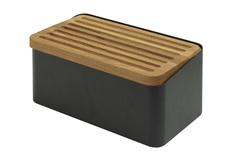 Хлебница Legnoart, с доской д/нарезки, чёрная, серия CRISPY