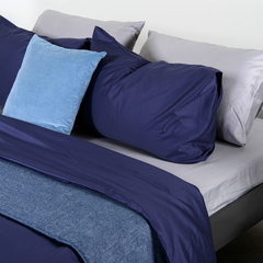 Набор из двух наволочек из сатина темно-синего цвета из коллекции Essential, 50х70 см Tkano TK19-PC0003