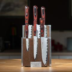 Комплект из 6 ножей Samura Kaiju и коричневой подставки