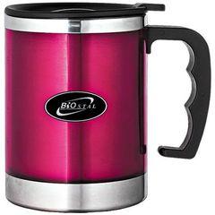 Кружка Biostal (0,35 литра) с крышкой, розовая NE-350-P
