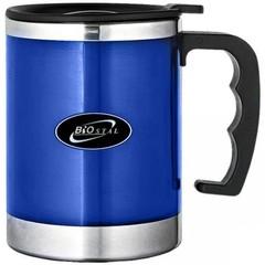 Кружка Biostal (0,35 литра) с крышкой, синяя NE-350-BL
