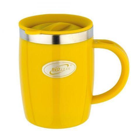 Кружка дутая Biostal Flër (0,4 литра) с крышкой, желтая
