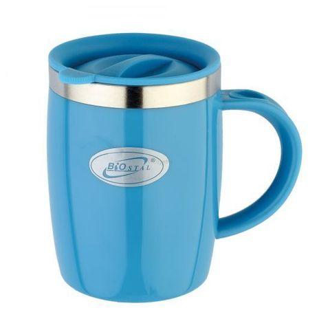 Кружка дутая Biostal Flër (0,4 литра) с крышкой, синяя
