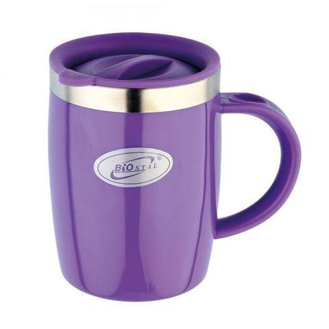 Кружка дутая Biostal Flër (0,4 литра) с крышкой, фиолетовая
