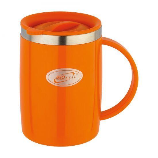 Кружка Biostal Flr (0,5 литра) с крышкой, оранжевая
