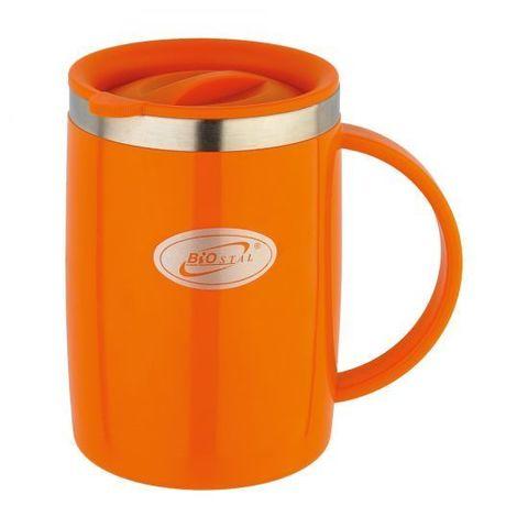 Кружка Biostal Flër (0,5 литра) с крышкой, оранжевая