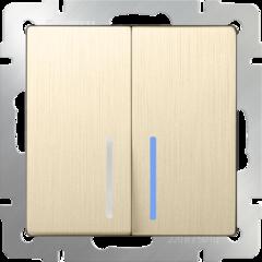Выключатель двухклавишный проходной с подсветкой (шампань рифленый) WL10-SW-2G-2W-LED Werkel