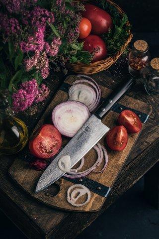 Нож кухонный стальной Шеф Samura 67 Damascus SD67-0085