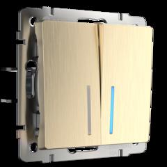 Выключатель двухклавишный с подсветкой (шампань рифленый) WL10-SW-2G-LED Werkel