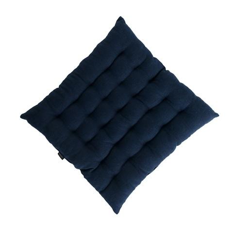 Стеганная подушка на стул из умягченного льна темно-синего цвета Tkano TK18-CP0007