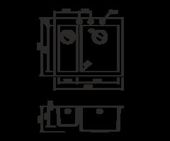 Кухонная мойка из искусственного гранита (Tetogranit) OMOIKIRI Bosen 59-2-BL (4993149)