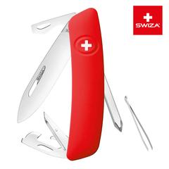 Швейцарский нож SWIZA D04 Standard, 95 мм, 11 функций, красный (блистер) KNI.0040.1001