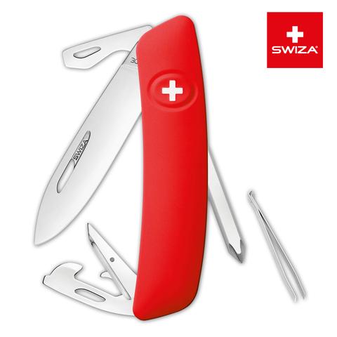 Швейцарский нож SWIZA D04 Standard, 95 мм, 11 функций, красный (блистер) MV-KNI.0040.1001
