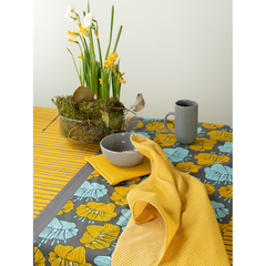 Скатерть из хлопка горчичного цвета с принтом Полоски из коллекции Prairie, 170х170 см Tkano TK20-TC0008