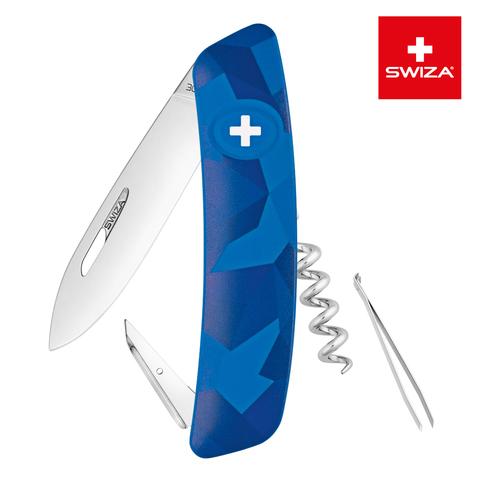 Швейцарский нож SWIZA C01 Camouflage, 95 мм, 6 функций, синий MV-KNI.0010.2030
