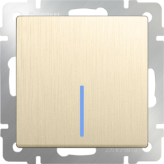 Выключатель одноклавишный проходной с подсветкой (шампань рифленый) WL10-SW-1G-2W-LED Werkel