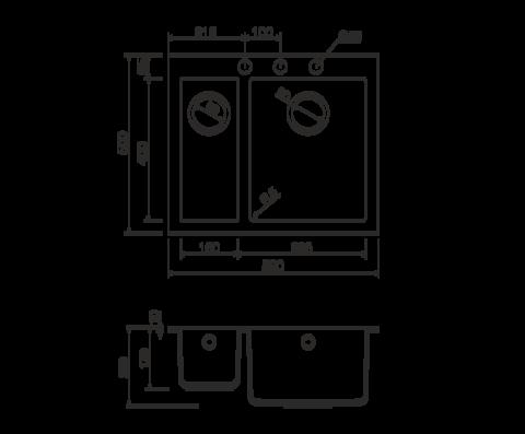 Кухонная мойка из искусственного гранита (Tetogranit) OMOIKIRI Bosen 59-2-EV (4993225)