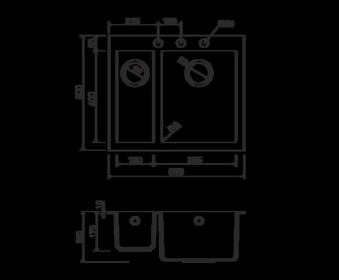 Кухонная мойка из искусственного гранита (Tetogranit) OMOIKIRI Bosen 59-2-PL (4993224)