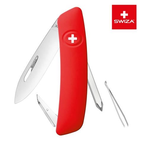 Швейцарский нож SWIZA D02 Standard, 95 мм, 6 функций, красный (блистер) MV-KNI.0020.1001