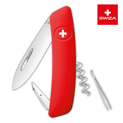 Швейцарский нож SWIZA D01 Standard, 95 мм, 6 функций, красный MV-KNI.0010.1000