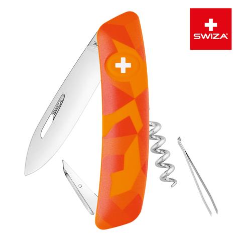Швейцарский нож SWIZA C01 Camouflage, 95 мм, 6 функций, оранжевый MV-KNI.0010.2070