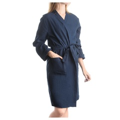 Халат из умягченного льна темно-синего цвета Tkano TK18-BR0005