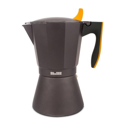 Кофеварка гейзерная на 12 чашек, алюминий, для индукционных плит, ручка оранжевая IBILI Sensive арт. 622212