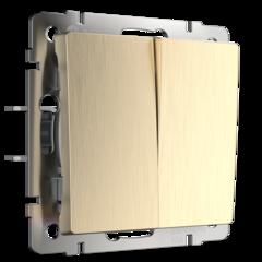 Выключатель двухклавишный проходной (шампань рифленый) WL10-SW-2G-2W Werkel