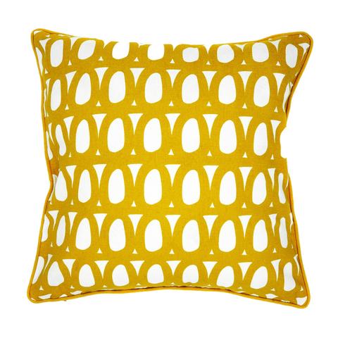 Чехол для подушки с двустронним принтом Twirl горчичного цвета и декоративной окантовкой Tkano TK18-CC0006