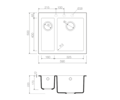 Кухонная мойка из искусственного гранита (Tetogranit) OMOIKIRI Bosen 59-2-СH (4993245)