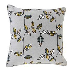 Чехол для подушки с растительным орнаментом 'Ягоды тайги', вышивкой и декоративной окантовкой Tkano TK18-CC0016