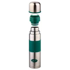 Термос Biostal Flër (1 литр) с цветной силиконовой вставкой, зеленый NB-1000P-G
