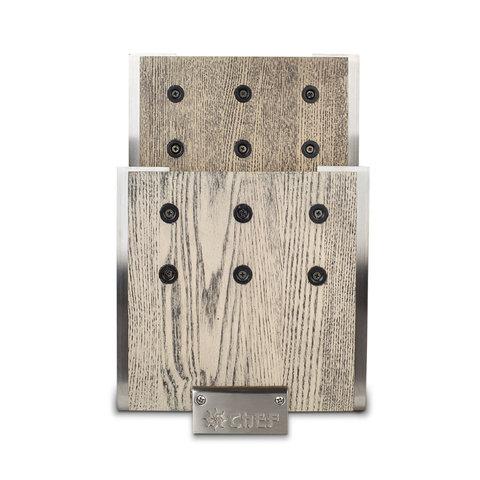 Подставка для ножей с магнитными держателями, ясень и сталь, Chef, CH-001/GR