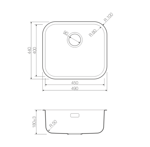 Кухонная мойка из нержавеющей стали OMOIKIRI Ashino 49-GM (4993073)