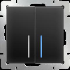 Выключатель двухклавишный с подсветкой (черный матовый) WL08-SW-2G-LED Werkel