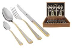 Набор столовых приборов 24 предмета на 6 персон Falperra Gold в деревянной коробке. 32580