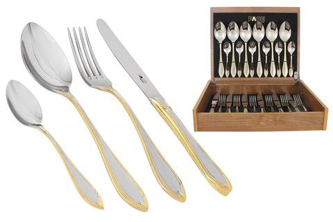 Набор столовых приборов 24 предмета на 6 персон Geneva в деревянной коробке. 32599