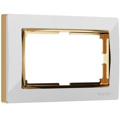Рамка для двойной розетки (белый/золото) WL03-Frame-01-DBL-white-GD Werkel